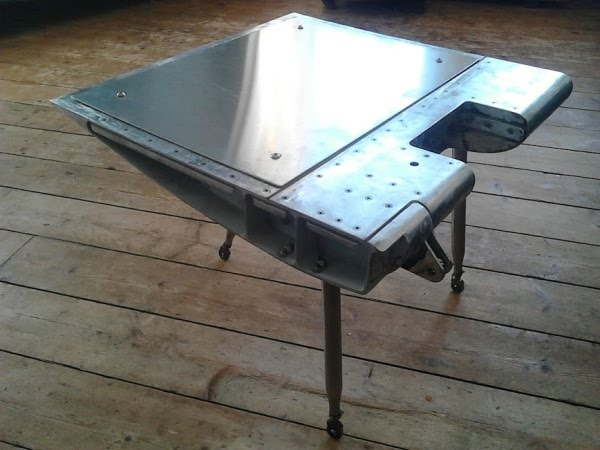 coffee table upcycled aircraft wing aviation art retro space-age mancave retro-futurist